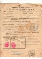Fiche Du Centre Démobilisateur Du Dépôt De Zouaves N°9 à Alger En 1940 - Format : 21x27cm - Documents