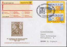 Jubiläum Erste Ausgabe Germania-Freimarke, R.Bf SSt Wuppertal Germania 1.4.2000 - Lettres