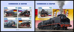 GUINEA BISSAU 2021 - Steam Trains, M/S + S/S. Official Issue [GB210118] - Guinea-Bissau