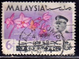 MALAYSIA MALESIA  JOHORE JOHOR 1965 SULTAN FAUNA FLOWERS IN NATURAL COLORS SPATHOGLOTTIS PLICATA 6c USED USATO OBLITERE' - Malaysia (1964-...)