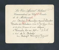 MILITARIA MARINE CARTE D INVITATION MILITAIRE LE VICE AMIRAL SALAUN ( BREST ) A BORD DU CUIRASÉ LA BRETAGNE 1923 : - Bateaux