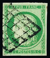 N° 2 15c Vert, Obl. Grille, TB. Signé Baudot, Calves - 1849-1850 Ceres