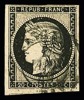 N° 3 20c Noir Obl. T15 Du 1er Janvier 1849, TB. Signé Baudot, Scheller - 1849-1850 Ceres