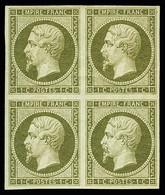 N° 1c Olive, Bloc De 4, TB - 1853-1860 Napoleon III
