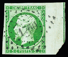 N° 12d 5c Vert, Bdf Avec Filet D'encadrement, Obl. PC 1760 De Lorgues (Var), TTB, R. Cert. JF.Brun - 1853-1860 Napoleon III