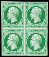N° 12e 5c Vert Clair, Tirage Des Arts & Métiers, En Bloc De 4, TB, R. Signé Baudot, A.Brun - 1853-1860 Napoleon III