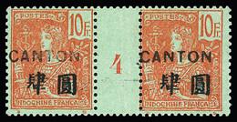 N° 49 10F Rouge Sur Vert-bleu En Paire Millésime 4, Peut-être Une Trace De Charnière Invisible, TTB, RR, Tirage 102 (Dal - Unclassified
