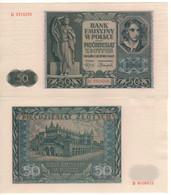 POLAND   50 Zloty   P102  (  Emilie Plater -  Krakow)    Dated 01.08.1941   UNC - Poland