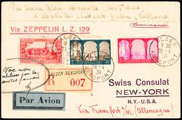 1936 Vol Zeppelin LZ 129 D'Alger Pour New York, Recommandé Avec Affr. Algérien, Via Francfort. Montée Sur Page D'album,  - Air Post