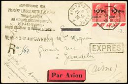 """N° 3 10F Sur 90c Rouge En PAIRE Bas De Feuillle Obl. New-York Au Havre 24.08.28 Sur Lettre Recommandée Avec Griffe """"Prem - Air Post"""