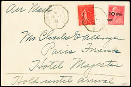 N° 3 10F Sur 90c Rouge Berthelot (+n° 199) Obl. New-York Au Havre 24.08.28 Sur Lettre, Très Bon Centrage, TTB, R Dans Ce - Air Post