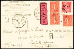 N° 3 10F Sur 90c Berthelot + 3 Semeuse 50c Obl. Càd New-York Au Havre 23.8.28 Sur Lettre Recommandée Avec Signature Du P - Air Post