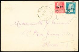 N° 3 +4 10F Sur 90c Rouge + 10F Sur 1F50 Bleu Obl. Càd New-York Au Havre 23.08.28 Sur Enveloppe De La Compagnie Transatl - Air Post