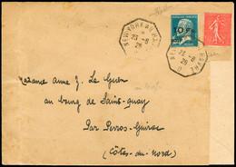 N° 4 10F Sur 1F50 Bleu (+n° 199) Sur Lettre 1928 Pour Perros Guirec, Arr., TB, RR. Signé Scheller - Air Post