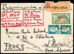 """1929 Vol Catapulte Le Havre - New York Par """"L'Ile De France"""": Lettre Recommandée Affranchie Avec Merson 10Fr Et Deux Pas - Air Post"""