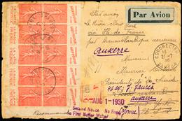 """1930 Vol Catapulte Le Havre - New York Par """"L'Ile De France"""": Lettre Recommandée De Coudrecieux (21-7 30) Avec Panneaux  - Air Post"""