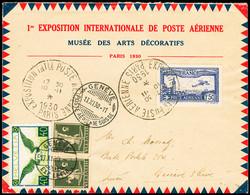 N° 6c 1F50 Outremer Perforé EIPA 30 Sur Lettre De L'exposition De 1930 Pour Genève, Suisse, Réadressée Avec Timbres Suis - Air Post