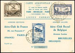 N° 6c 1F50 Outremer Perforé EIPA 30 + Timbre Belge Et Vignette De L'exposition 1930 Sur Carte 1ère Essai De Liaison Rapi - Air Post