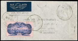 N° 15 50F Burelé Seul Sur Lettre De Saverne 1937 Pour L'Argentine, Arr., TB, R - Air Post