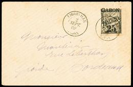 N° 13 25 S. 20c (marge Touchée) Obl. Càd LIBREVILLE 02.09.1889 Sur Lettre Pour Bordeaux, TB - Unclassified