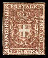 1860 1c Lilac, Good Margins All Around, Very Fine, Cert. Raybaudi (Sassone N° 17b) - Toskana