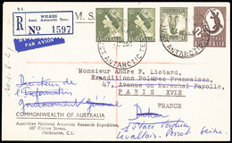 1959 Registered Envelope To France Bearing 3s And 6d Franking, Reverse Shows Melbourne Transit, OPENING OF WILKES POST O - Non Classés