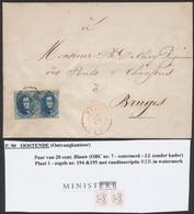 Médaillon - N°7 En Paire Sur LAC (filigrane ERE, Pl 1 N°194/95) Obl P90 çàd Ostende > Bruges - 1851-1857 Médaillons (6/8)
