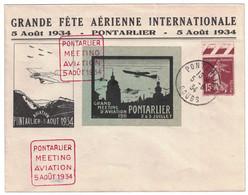 """RARE VIGNETTE """" MEETING D'AVIATION PONTARLIER 1911 """" Sur LETTRE ENTETE GRANDE FETE AÉRIENNE 1934 Avec SEMEUSE + DAGUIN - 1921-1960: Période Moderne"""