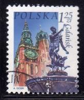 POLONIA POLAND POLSKA 2004 TOURISM MONUMENTS TOWN HALL NEPTUNE FOUNTAIN GDANSK 1.25z USATO USED OBLITERE' - Usati
