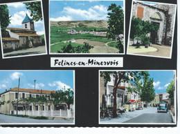 CPSM - 11 - FELINES-MINERVOIS - Multivues - Terrasse, Groupe Scolaire, Voiture - 1968 - BE - - Sin Clasificación