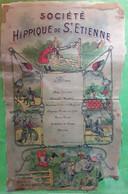 RARE Menu Illustré Sur Soie SOCIÉTÉ HIPPIQUE SAINT ÉTIENNE Loire,Humour,Pique Restaurant, Hippodrome VILLARS 9 Juin 1912 - Menus