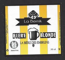 Etiquette De Bière Blonde  -  Des Embruns  -  Brasserie La Bernik à Pleumeur Bodou   (22) - Beer