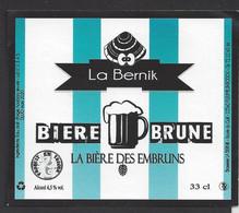 Etiquette De Bière Brune  -  Des Embruns  -  Brasserie La Bernik à Pleumeur Bodou   (22) - Beer