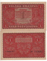 POLAND   1  Marka Polska   P23  ( Queen Jadwiga -  Arms At Back)    Dated 23.08.1919   UNC - Poland