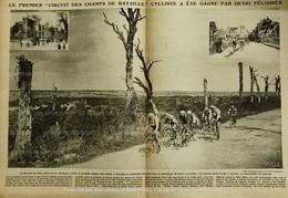 1920 CYCLISME - LE PREMIER CIRCUIT DES CHAMPS DE BATAILLE - HENRI PELISSIER - CHEMIN DES DAMES - NOYON - SOISSONS - 1900 - 1949