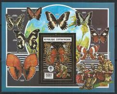 Centrafrique YT Bloc 104B Neuf Sans Charnière XX / MNH Papillon Butterfly Or Gold - Central African Republic