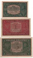 POLAND   Set 3 Notes   1/2 - 1- 5  Marek Polski  P23-P24- P30   Dated  1919-1920 - Poland