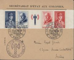 Entête + Cachet Secrétariat D'Etat Aux Colonies + Cachet Salon Marine 17 6 43 Paris Bande Francisque YT 568 à 571 Pétain - WW II