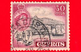 CIPRO - Usato - 1955 - Regina Elisabetta E La Baia Di Kyrenia - Kyrenia Harbor - 30 - Chipre (...-1960)