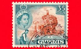 CIPRO - Usato - 1955 - Regina Elisabetta E Raccolto - Harvest In Mesaoria - 35 - Chipre (...-1960)