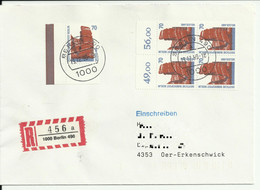 """Cover/Brieff Recommande From Berlin 1990 """"Sights"""" - Storia Postale"""