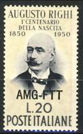 A Trieste 1950 N. 88 Lire 20 Paglia E Grigio MNH Cat. € 11 - Mint/hinged