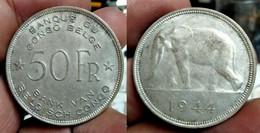 BELGIAN CONGO 50 FRANCS 1944 (Africian Elephant) Km#27 SILVER (G#05-22) - 1934-1945: Leopold III