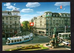 Suisse - ZÜRICH , Bahnhofstrasse Mit Alfred Escher Denkmal ( Karten N° 316957, Advision AG ) Tramway- Hôtel Schweizerhof - ZH Zurich