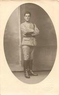 CARTE PHOTO SOLDAT HUET A MORLAIX REGIMENT N°35 PHOTO MAZE LAUNAY - Weltkrieg 1914-18