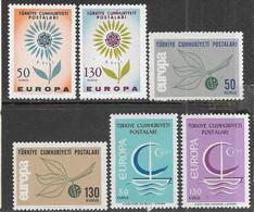 Turkey  1964-6   Europa Sets  MNH  2016 Scott Value $9.50 - Unused Stamps