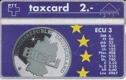 TARJETA DE SUIZA CON UNA MONEDA ECU DE ALEMANIA (COIN) MONEDA - Francobolli & Monete