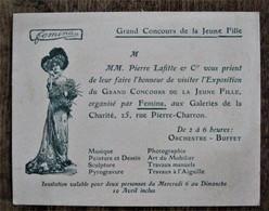 Grand Concours De La Jeune Fille Organisé Par FEMINA - Carton D'invitation à L'exposition - Other