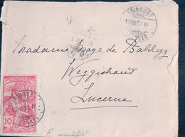 Suisse Petite Lettre Timbre UPU 10 Ct, Fribourg - Lucerne (13.8.1900) 9x12 - Covers & Documents