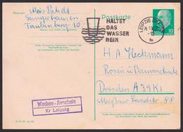 """Wachau-Auenhain Kr. Leipzig Poststellenstempel 10 Pfg. Ganzsache GA MWSt. """"Haltet Des Wasser Rein"""" Wasserglas, Umwelt - Machine Stamps (ATM)"""